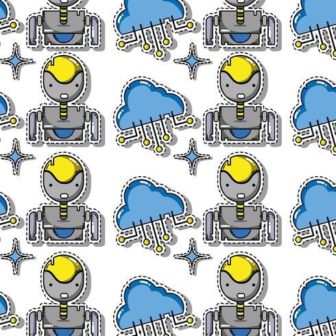 tecnologia dei dati patch disegno di sfondo adesivo