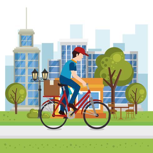 trabalhador de entrega em caráter de bicicleta