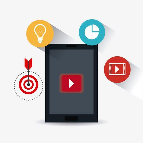 Digital and social marketing strategies vector
