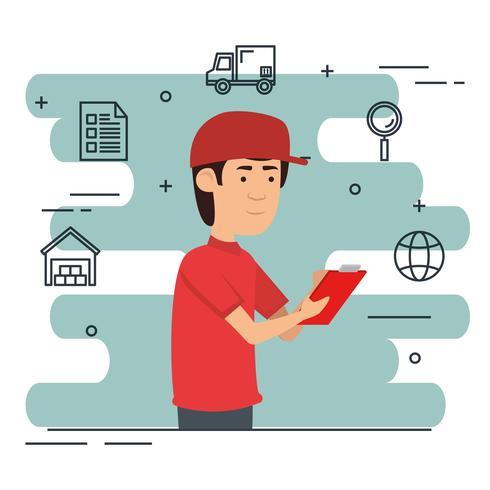 trabalhador de entrega com ícones conjunto