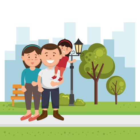 family members on the park vector