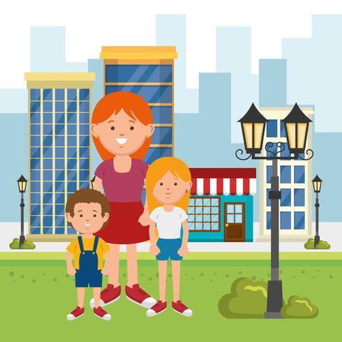 family at a city park vector