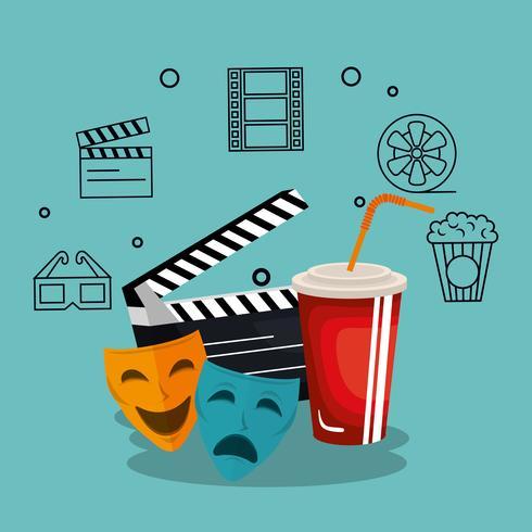 iconos de conjunto de la industria del cine