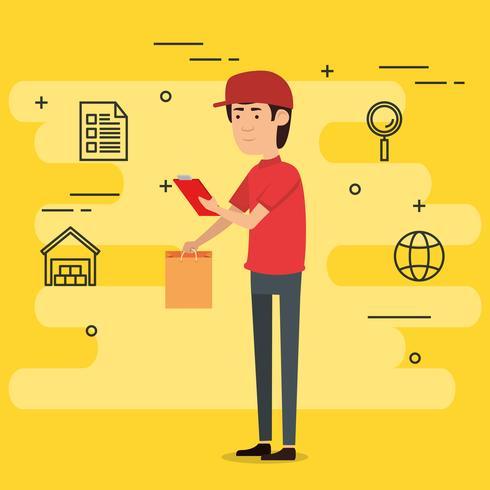 trabajador de entrega con iconos conjunto