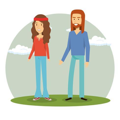 pareja hippies personajes de estilo de vida vector