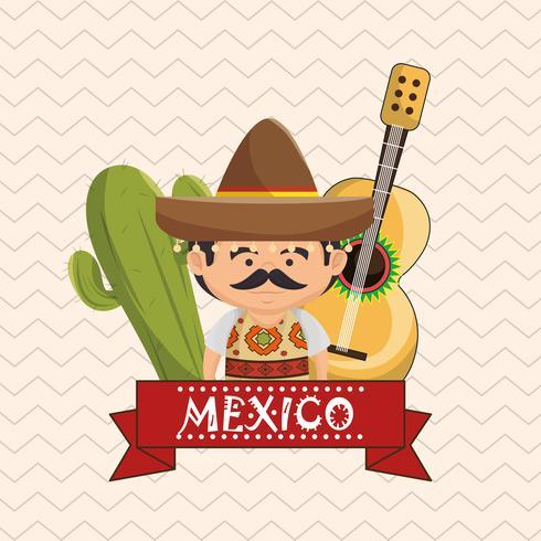 Mexicaanse man karakter met cultuur pictogrammen