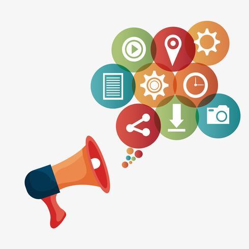 Digital and social marketing vector