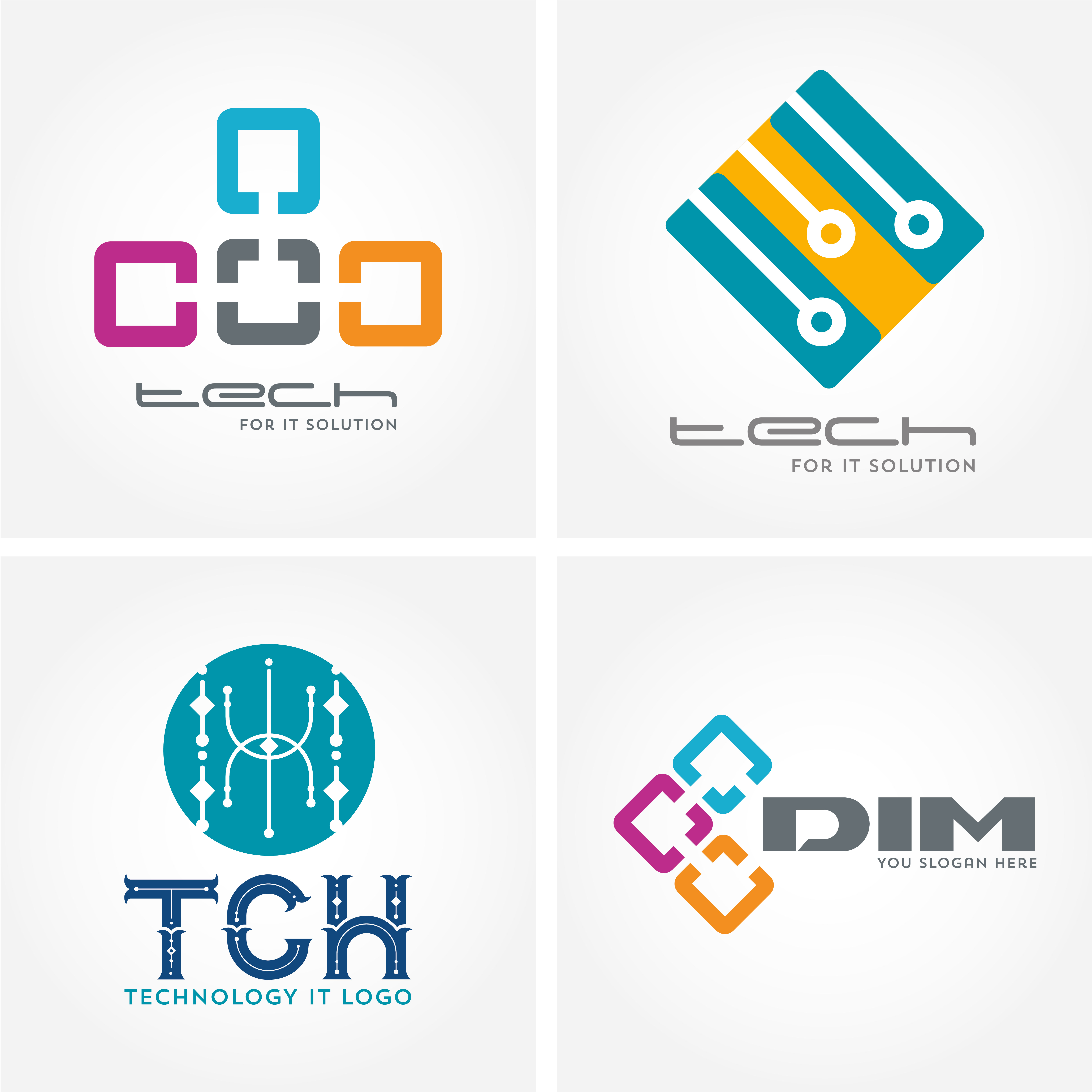 Technology, computer, and data related business logos ...