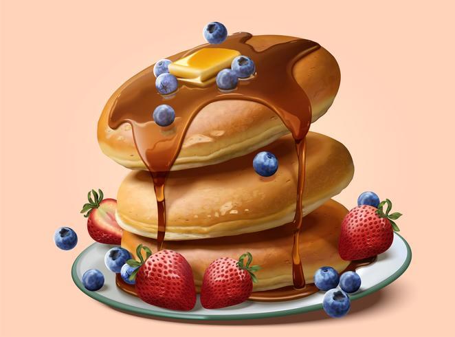 Auflaufpfannkuchen mit tropfendem Honig