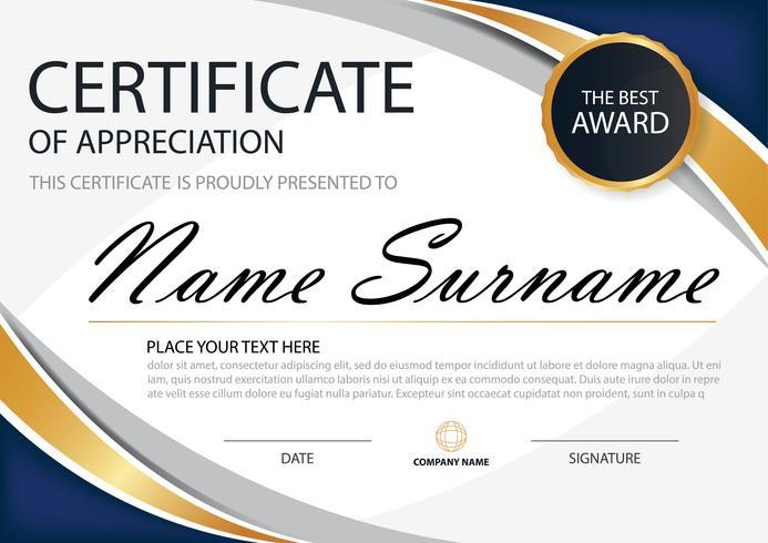 Blått och guld elegant certifikat