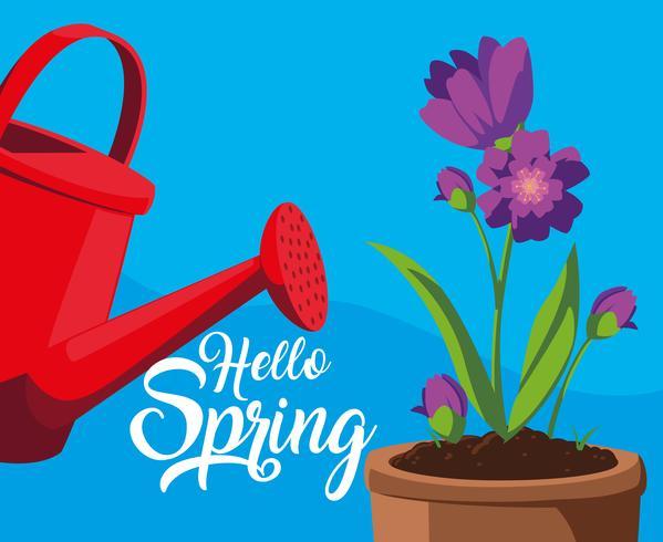Bonjour la carte de printemps avec des fleurs pourpres et un pot en plastique d'arrosage