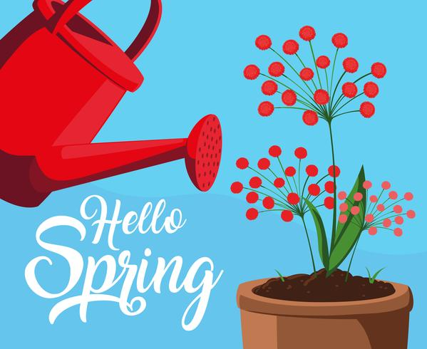 hello spring card with red flowers and sprinkler plastic pot vector