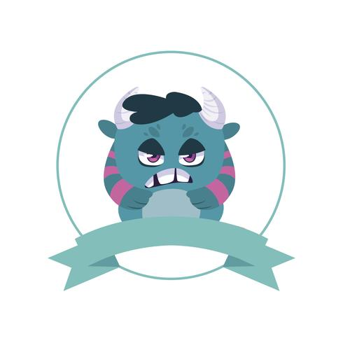 circular frame with monster and horns character vector