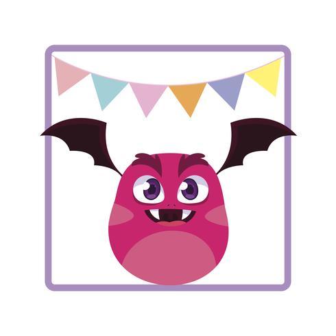 vierkante frame met monster vliegen en feest slingers