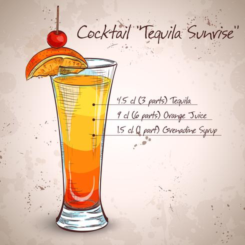 Tequila sunrise realistische cocktail
