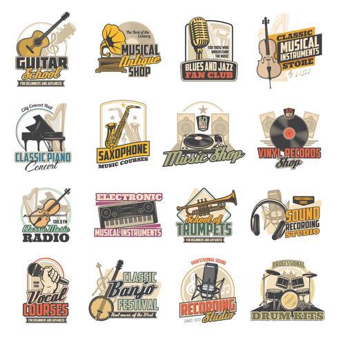 Musikinstrument, Vinylaufzeichnung, Mikrofonikonen