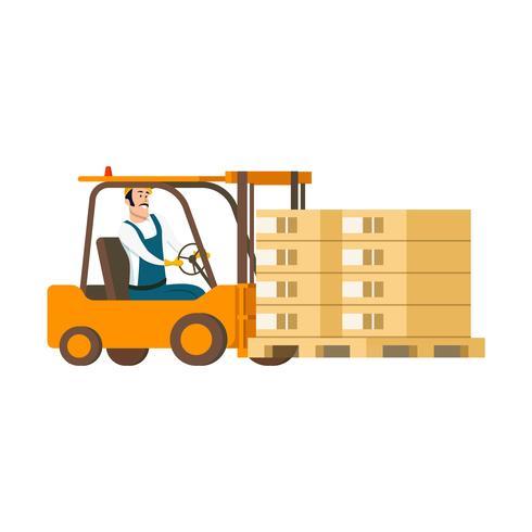 Magazijn karakter rijden heftruck auto met doos