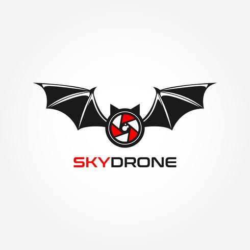 chauve-souris ciel drone logo vecteur