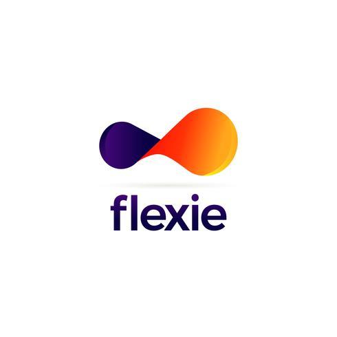 Logotipo flexível roxo e laranja vetor