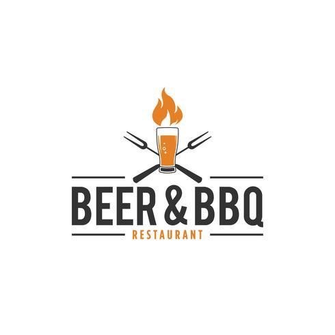 Logotipo de churrasco e cerveja vetor