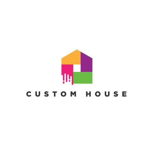 Kleurrijk huis verf logo
