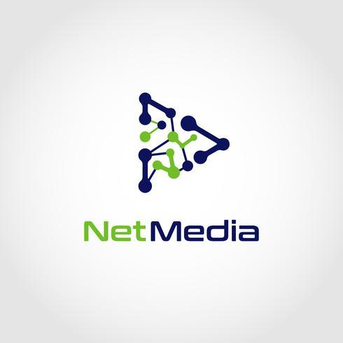 Logotipo do botão de reprodução em rede vetor