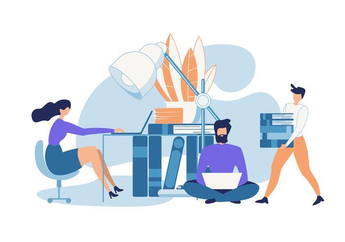 Advertising Poster Online Training Cartoon Flat vector
