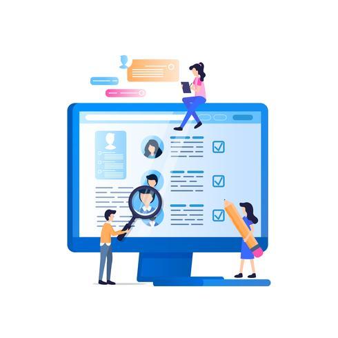 Monitoramento de Recrutamento de Mídia Social na Tela do Laptop vetor