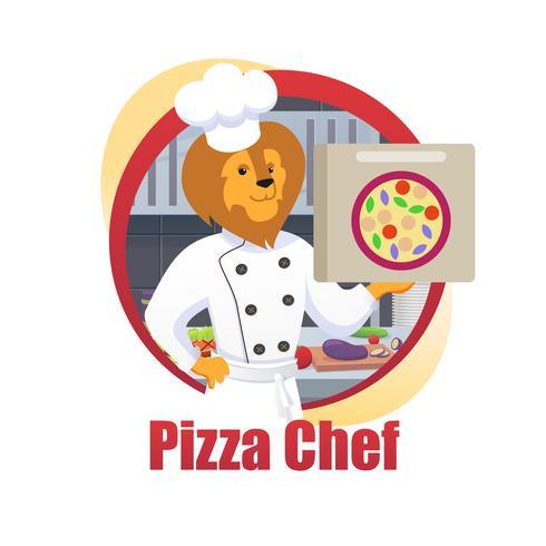 Pizza de desenhos animados Chef Lion King Hold Pizza caixa na pata