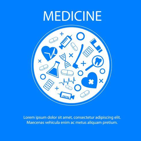 Banner de medicina com símbolo de ciência médica vetor