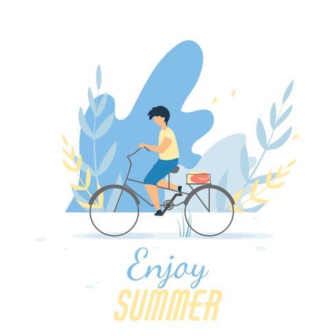 Njut av sommartextbanner med pojkecykling