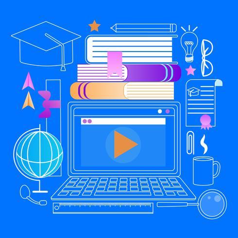 Laptop com leitor de Webinar vetor