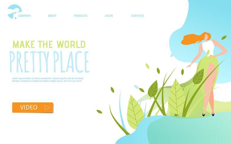 Tornar o modelo de página de destino do World Pretty Place vetor