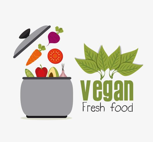 Veganistisch eten ontwerp. vector