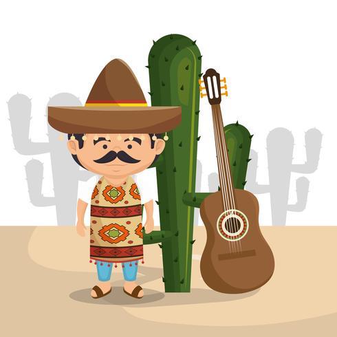 personagem do homem mexicano com ícones da cultura vetor