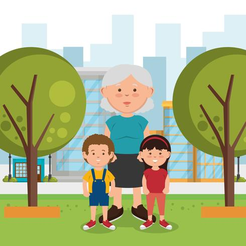 Grandmother and kids at the park vector