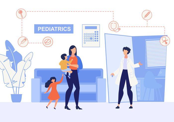 Cartel informativo de inscripción en pediatría. vector