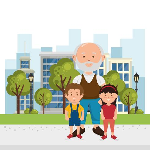 Grandfather and kids on the park vector