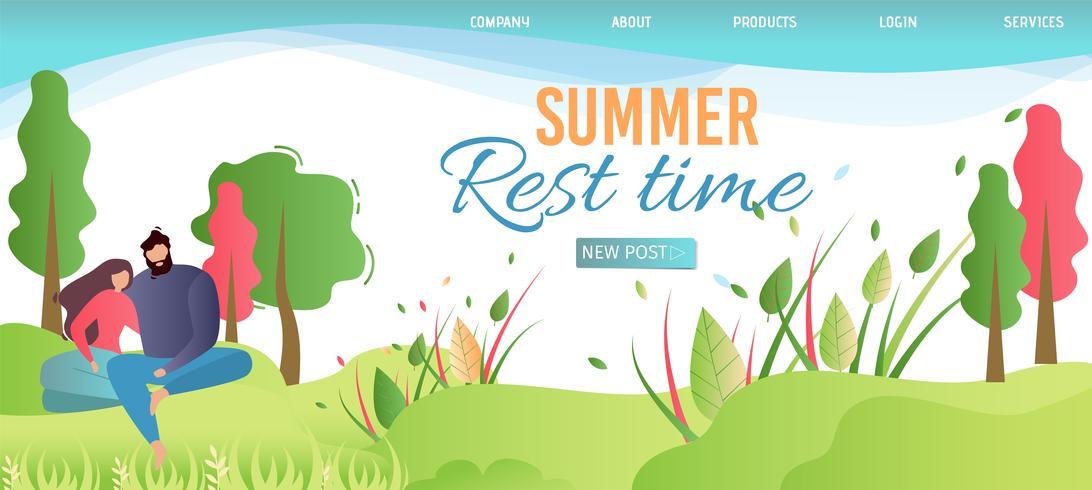 La página de destino anuncia el tiempo de descanso de verano en la naturaleza