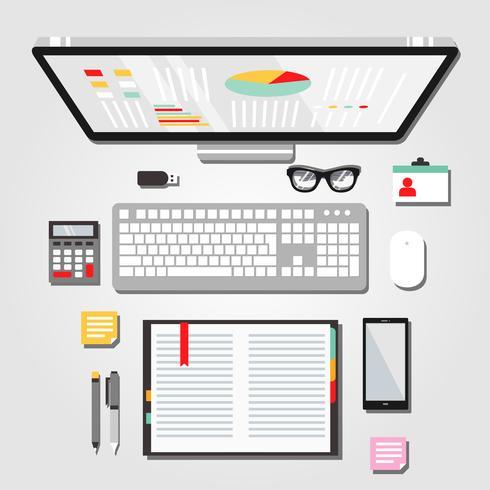 Ilustración gráfica del espacio de trabajo de escritorio vector