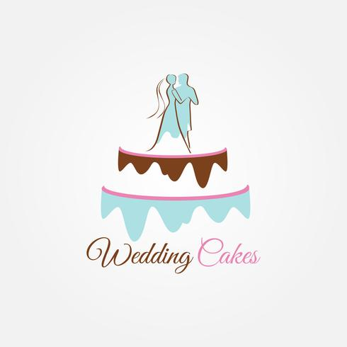 Wedding Cake with Couple on Top vector