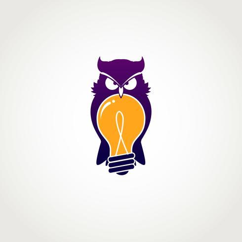 gufo intelligente con icona lampadina simbolo icona segno simbolo