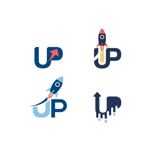 Up Text Variations Logo Set vector