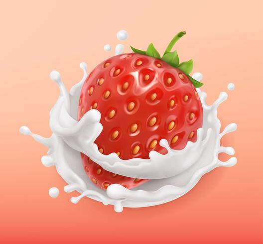 Respingo de morango e leite. Frutas e iogurte