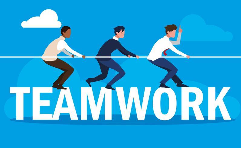 Trabajo en equipo con hombres de negocios elegantes y con cuerda. vector