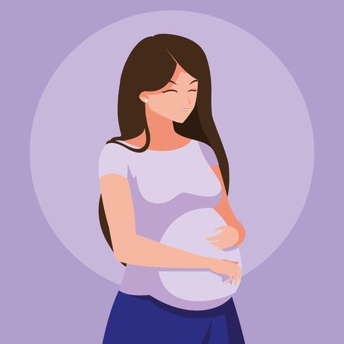 personaggio di avatar di giovane donna incinta vettore