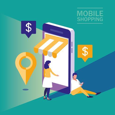 personnes avec smartphone et shopping en ligne