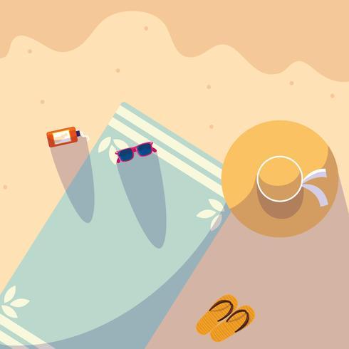 toalla de verano en el diseño de la playa vector