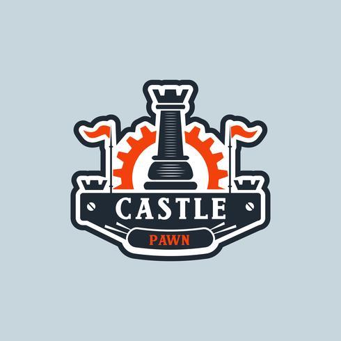 Pieza de ajedrez con logotipo de engranaje