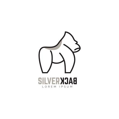Silberrücken-Gorilla-Logo-Symbol-Symbol